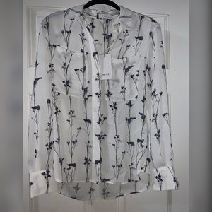 Gorgeous Reiss NWT Blouse, white w purple flowers